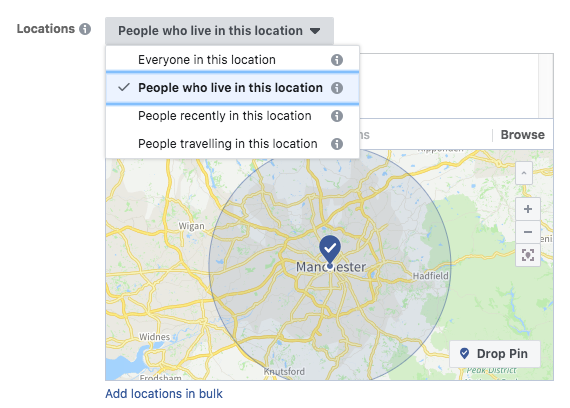 Facebook Ads Location Selection