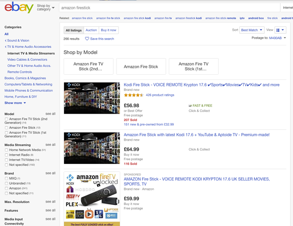 eBay former search results page