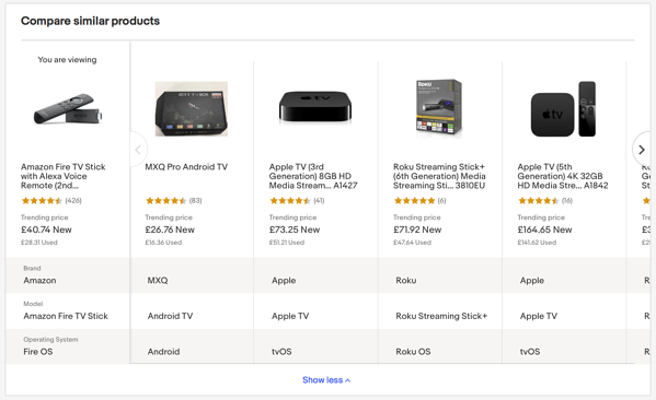eBay Update: Compare Similar Products