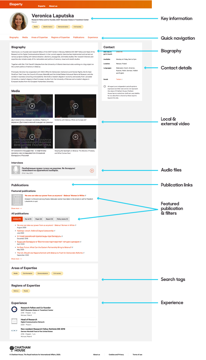 Profile page showing key information, quick navigation, biography, contact details, video, audio, publication links and filters, search tags, and experience.