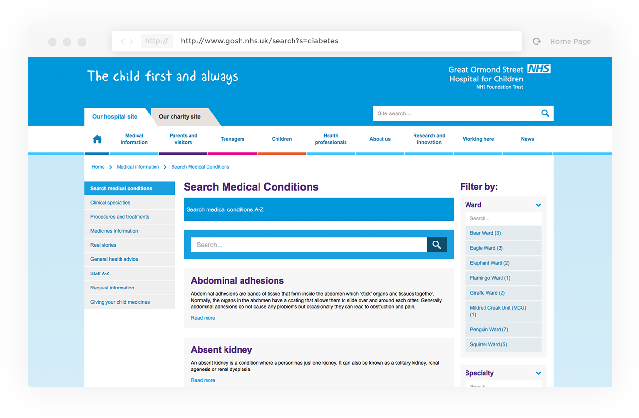 Example of Search Medical Conditions feature