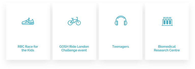 4 of the many microsites on GOSH's platform. RBC Race for the Kids, GOSH Ride London Challenge event, Teenagers, Biomedical Research Centre