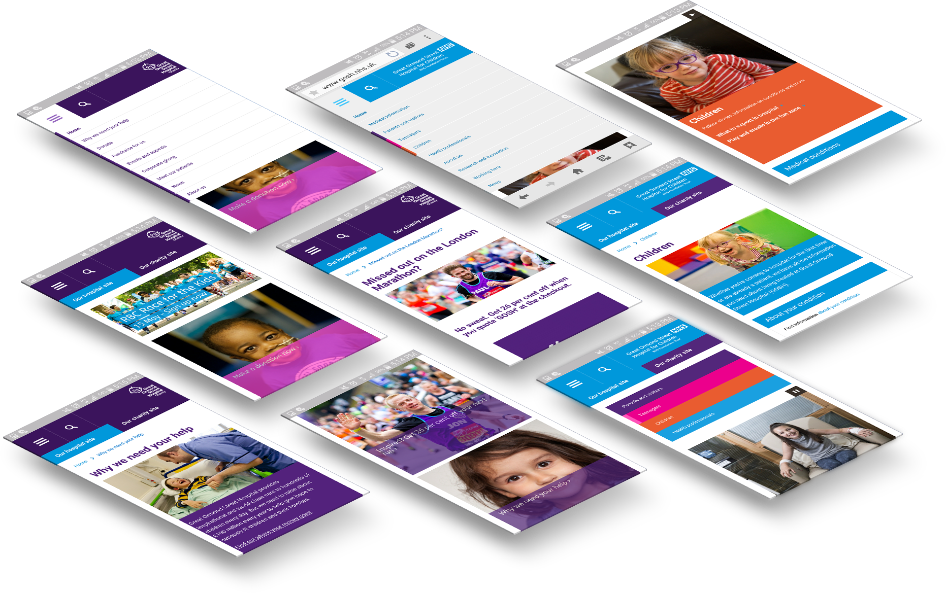 9 examples of smartphone interfaces for Charity and NHS websites