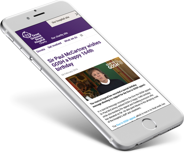 Give to GOSH appeal supported and endorsed by Paul McCartney, as shown on mobile