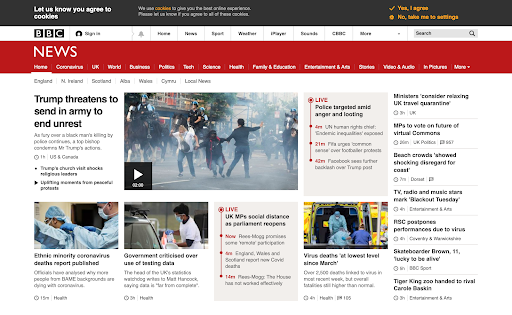 BBC website viewed with no visual impairment