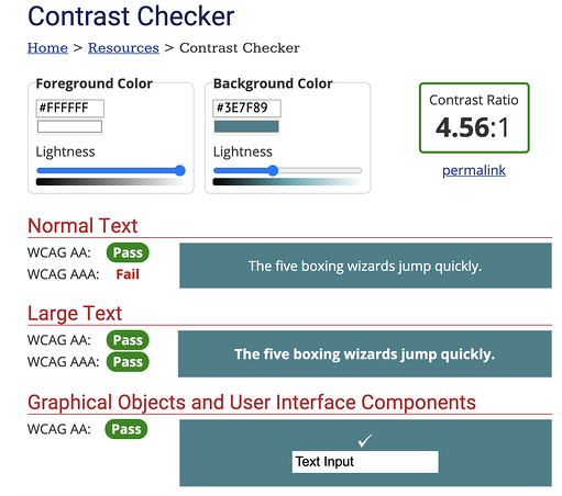 Web Aim Contrast Checker